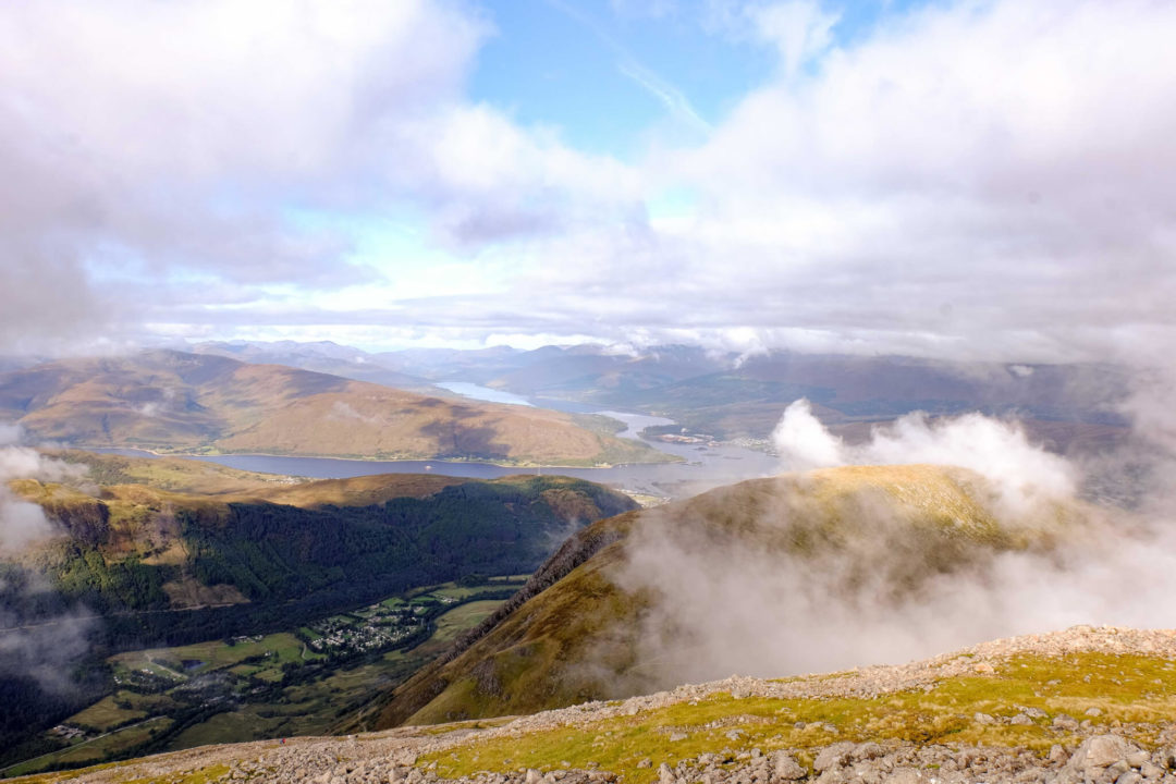 Scotland mountains - view from Ben Nevis of Fort William