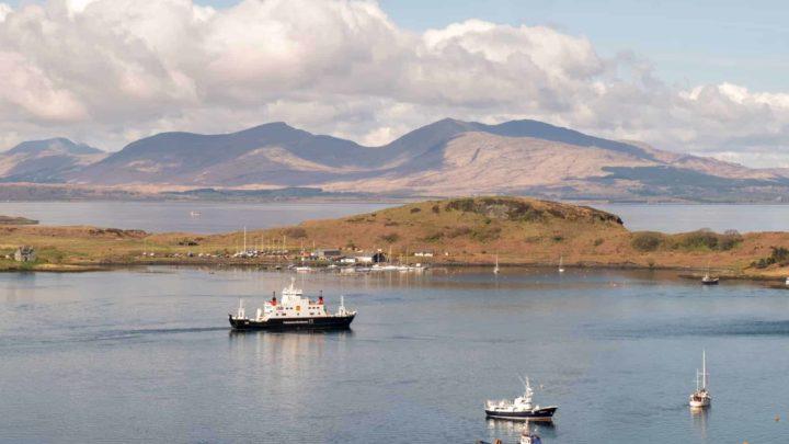 Ferry leaving Oban Scotland